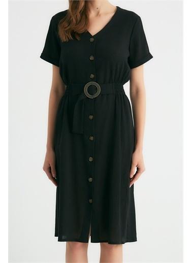 Robin Robin Düğmeli Kemer Detaylı Elbise Siyah Siyah